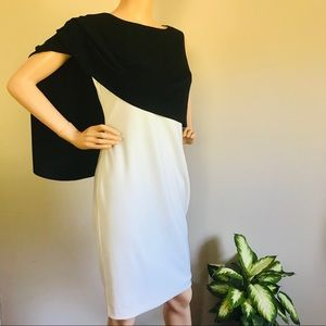 Ralph Lauren Ivory/Black Overlay  Sheath Dress